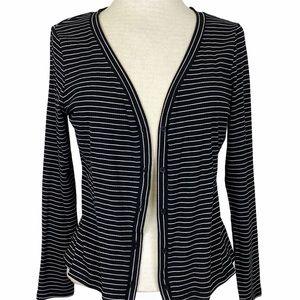 WHO WHAT WEAR Black & White Stripe Cardigan